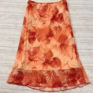 Necessary Objects Orange Leaf Pattern Midi Skirt